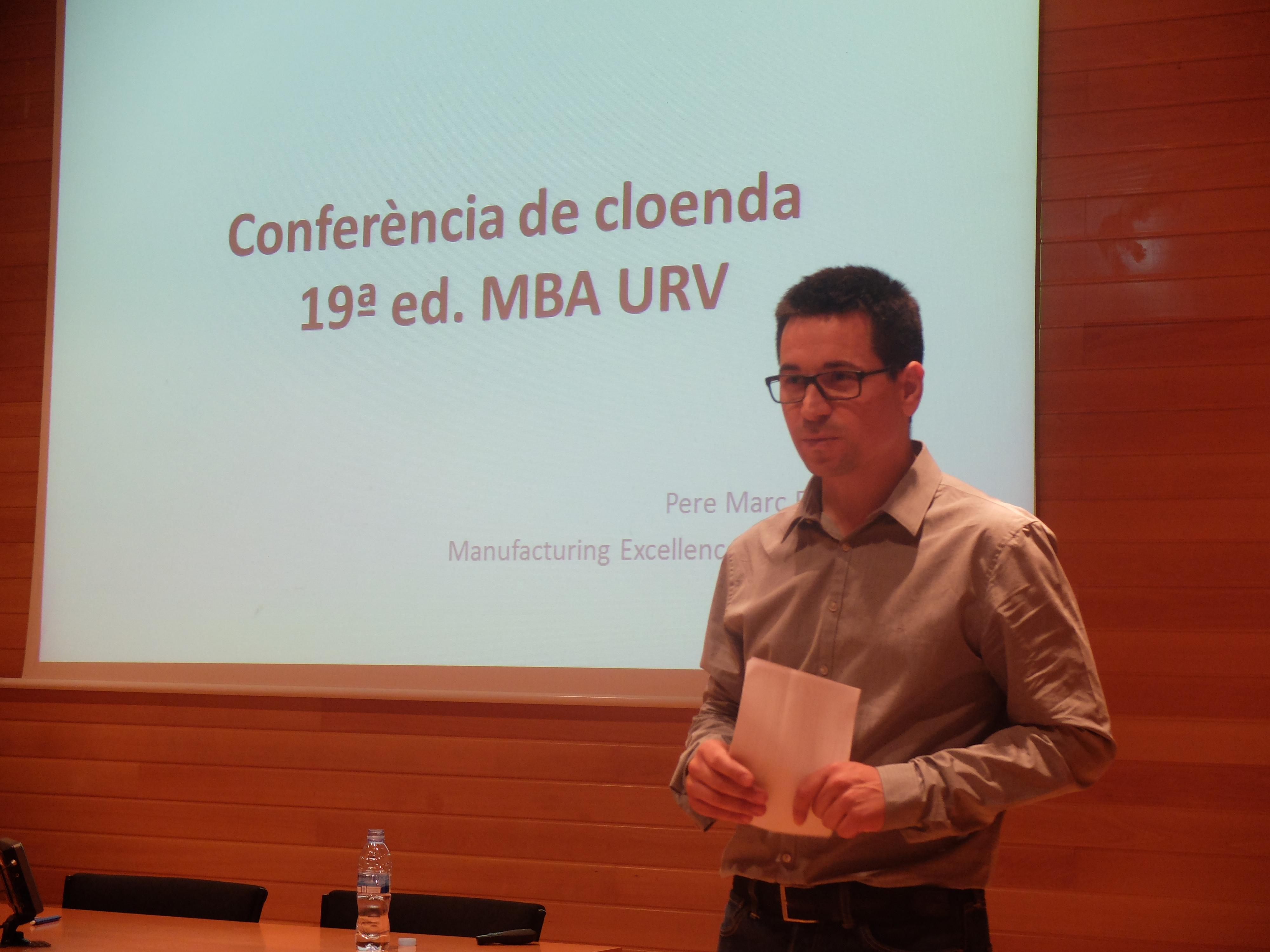 Conferència de cloenda de la 19a edició a càrrec de Pere Marc Franquet, Manufacturing Excellence Manager a SCA Site Valls.
